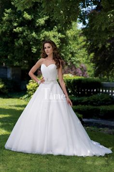 Simple Sweetheart Tulle Beaded Belt Ball Gown Wedding Dresses/Bridal Gowns WD148032
