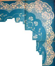 Gallery.ru / Fotoğraf # 27 - fileto - ergoxeiro Crochet Lace Edging, Crochet Borders, Crochet Doilies, Filet Crochet Charts, Crochet Diagram, Crochet Stitches, Holiday Crochet, Crochet Home, Doily Patterns