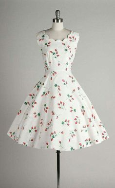 50's White Cotton Dress with Pink Floral Print
