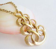 CROWN TRIFARI Golden Swirls Pendant Necklace via Etsy