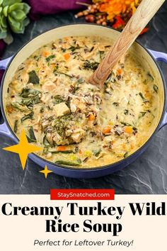 This Leftover Creamy Turkey Wild Rice Soup is a great way to use up any remaining turkey carcass you have on hand. The entire dish is made in one pot with veggies and hearty ingredients. It's freezer-friendly and perfect for meal prep, too! #LeftoverTurkeySoup Rice Recipes For Dinner, Easy Soup Recipes, Healthy Recipes, Chicken Recipes, Snack Recipes, Turkey Wild Rice Soup, Leftover Turkey Soup, Cooking Wild Rice, Meal Prep Guide