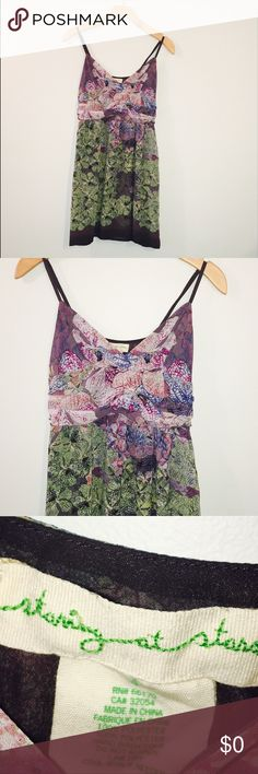 """⭐️SALE⭐️UO STARING AT STARS Floral Dress • Excellent pre-loved condition • Waist: 13 1/2"""" • Armpit to hem: 24"""" • Armpit to armpit: 16""""  • Adjustable straps • Fabric: 100% Polyester • Lined: Yes • Stretch: No URBAN OUTFITTERS Dresses Midi"""