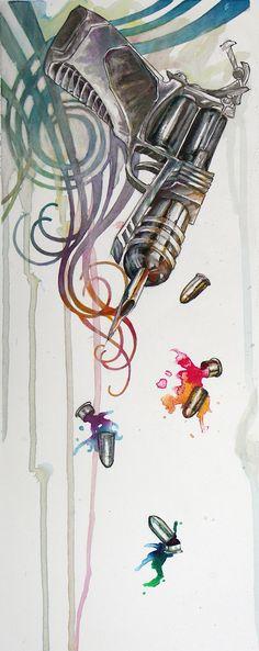Tattoo machine drawing google s k tattoo gun design for How to put ink in a tattoo gun