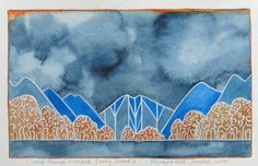 Going through Fiordland - Dusky Sound II -- Marilynn Webb Drawing Pin, Gallery Website, Printmaking, Landscape Paintings, New Zealand, Watercolour, Original Art, Tapestry, Ink