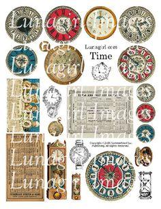 TIME digital collage sheet CLOCKS watches steampunk by Lunagirl (Craft Supplies & Tools, Scrapbooking Supplies, Scrapbooking Clip Art, art, collage, mixed media, altered, assemblage, ephemera, digital, paper, card, tag, steampunk, clocks, antique)