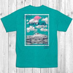Merican Proper Fish Boat Stamp Sail Sea Ship Turtle Preppy Southern Bright T-Shirt
