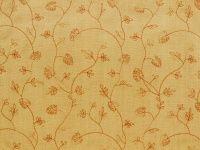 Bestickte, reine Seide, Blumenranken, braun-orange, 140cm