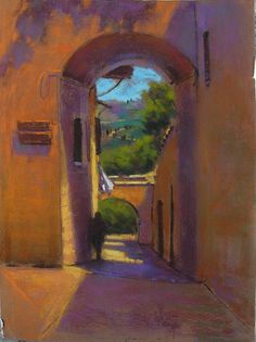 Teresa Saia is a favorite demonstrator for AU, and she has been invited back a number of times. For this demonstration, Teresa began a view of a Southwestern doorway using pastels, as shown below....