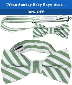 Urban Sunday Baby Boys Austin Bow Tie - Green/White - Small. Urban Sunday Austin Bow Tie - Green/White This preppy, 100% cotton bow tie is the perfect way to get your little guy on trend! Features: Dry clean only Adjustable neck strap Pre-tied knot 100% cotton.