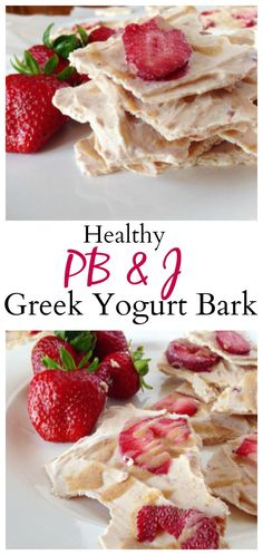 #healthy PB & J Greek Yogurt Bark is a tasty and easy refreshing snack and dessert! Can also be vegan and paleo! #cleaneating