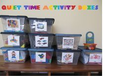 Keep your toddler quiet and happy with Quiet Time Activity Boxes from www.everyday-organizing.com.