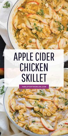 Apple Cider Chicken Skillet - Chicken Skillet Recipe with Apples This apple cider chicken skillet is the ultimate Fall dish that is full of sweet and savory flavors! You need to get this on the table! Apple Cider Chicken Recipe, Apple Chicken, Chicken Skillet Recipes, Best Chicken Recipes, Skillet Meals, Recipe Using Apple Cider, Baked Chicken, Thin Sliced Chicken, Chicken Eating