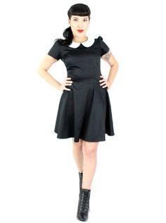 "Women's ""Wednesday Addams"" Skater Dress by Hemet (Black) Wednesday Addams, Full Circle Skirts, Short Mini Dress, Discount Dresses, Dressed To Kill, Fitted Bodice, Skirt Fashion, Skater Dress, Vintage Looks"