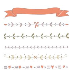 Set of hand drawn floral border elements and a ribbons vector- by Julia_Henze on VectorStock®