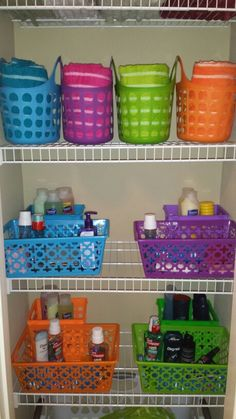 Cheap and easy way to organize your kids bathroom commodities. Clutter free counters and showers. My kids grab their color coordinated baskets, use what they need for showers and/or bedtime routines, and then put everything back in place. Color coordinated for each child. Great for families with multiple kids. All of the baskets were bought at Walmart or the Dollar Tree. $1 each for a total of $12. Money well spent!