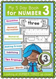 NumbersNumber Workbook - Number Three - 5 Day BookletThis resource will help you sequence a whole week of simple number work for your Kindergarten number lessons.Print the pages and make each of your students their own mini number book for the week.This book has a focus on the number three.