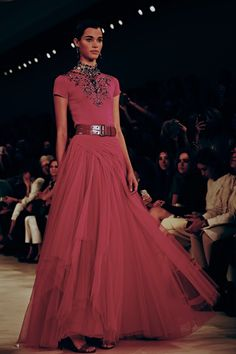 A salmon pink t-shirt ball gown and jewel embellishment at Ralph Lauren SS15 NYFW. More images here: http://www.dazeddigital.com/fashion/article/21655/1/ralph-lauren-ss15