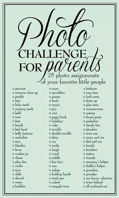 Photography challenge for parents