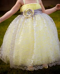 Sweet+Yellow+Dress+w/+Silver+Lace+Overlay+and+by+littledreamersinc,+$130.00