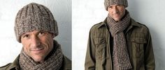 Knitted scarf and beanie. Free pattern