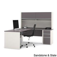 bestar connexion brown laminate lshaped workstation desk with hutch