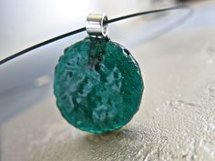 Teal Fused Glass  Round Pendant Choker Necklace by Glassimo on Etsy