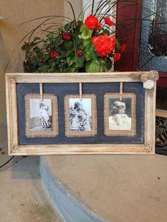 Frame, burlap and chalk paint - Bilder Rahmen Burlap Projects, Burlap Crafts, Diy Projects To Try, Decor Crafts, Home Crafts, Diy And Crafts, Cadre Diy, Picture Frame Crafts, Burlap Picture Frames