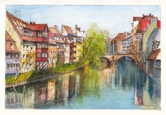 The Altstadt (old town) of Nürnberg (Nuremberg) in Germany is reflected in the still waters of the Pegnitz River on a delightful, sunny Spring afternoon. Pencil ink and watercolours on 300 gsm smooth Arches french cotton paper. 21 cm high by 29.5 cm wide (8.25 inches by 11.75 inches) approximately.  To check on the availability of the original for purchase, please visit http://www.daiwynn.com/artist/river-pegnitz-in-nurnberg/