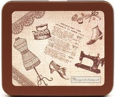 "beautiful Stamp Set Dressing Room  with 9 big wooden stamps in beautiful metal case with dressing room doll, shoes, old iron, sewing machine, scissors & ornaments  the set is delivered in a brown gift case; kawaii mouse cute suess  case length: 13.2cm (5.2""), width: 11.4cm (4.5"")  stamp size dressing room doll: 3cm x 7.2cm (1.2""x2.8"")  Price: £8.91"