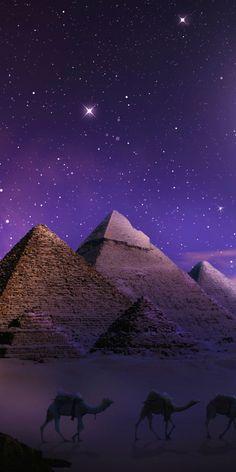 Egypt Wallpaper, Planets Wallpaper, Scenery Wallpaper, Egypt Concept Art, Ancient Egypt Art, Pyramids Of Giza, Egyptian Art, Night Skies, Beautiful Landscapes