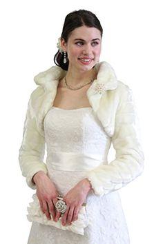 d9f07612f24d9 Ivory Faux Fur Bridal Jacket with Long Sleeve, Fur Coat, Fur Shrug, Fur  Stole