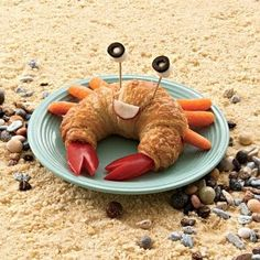 fun summer food ideas.. We had croissants on Sunday night, but they didn't look like crabs, did they. Delicious. Levi said they tasted like donuts.