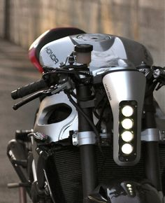 2009 CBR 1000 RR by Huge Design - San Francisco, California, USA. Professional industrial design project by Bill Webb (via Inazuma Cafe Racer) Motorcycle Lights, Motorcycle Headlight, Moto Bike, Cafe Racer Headlight, Cafe Racer Bikes, Cafe Racer Motorcycle, Cafe Racers, Concept Motorcycles, Cool Motorcycles