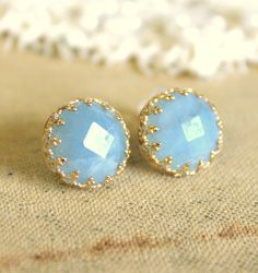 Elizabeth royal  -  Real Aquamarine gem stone  Earrings vintage and Elegant style. $46.00, via Etsy.