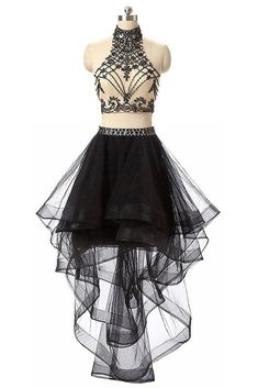 Unique black tulle o-neck two pieces beading short dresses,evening dresses for teens by prom dresses, $152.00 USD