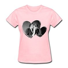 """QDYJM Women's Elvis Presley And His Mystery """"The Kiss"""" Heart T-shirt - Pink at Amazon Women's Clothing store:"""