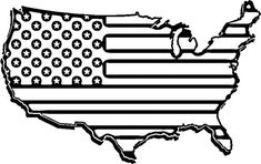 American Flag Map For Independence Day Coloring Pages - Download & Print Online Coloring Pages for Free | Color Nimbus