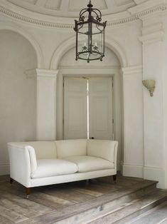 Love the flooring.(Rose Uniacke - Shop - The Classic Sofa) Home Living, Living Spaces, Living Rooms, Sofa Design, Interior Design, Rose Uniacke, All White Bedroom, Classic Sofa, Classic White