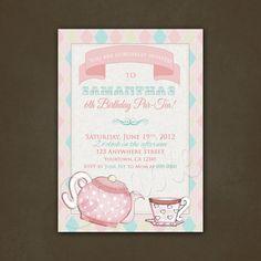 Tea Party Shabby Chic  Birthday Invitation por PinkSkyPrintables, $12,00