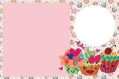 Cupcakes Fofinhos – Kit Completo com molduras para convites, rótulos para guloseimas, lembrancinhas e imagens! |Fazendo a Nossa Festa Party Sweets, Cupcake Party, Cupcakes, Cupcake Cakes, Cake Borders, Free Printable Birthday Invitations, Cake Logo, Borders And Frames, Name Cards
