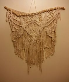 Macrame Textured Wall Hanging / Knotted Fringe Tapestry by WallHuggerHandmade on Etsy