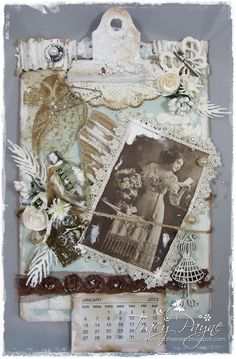 Crafteezee: Altered Clipboard: Vintage Calendar: Featured Artist at Anything But a Card Challenge 11