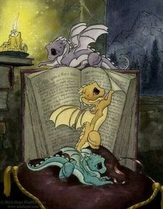 baby dragons reading...because reasons.