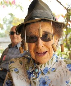 Cork Hat / Australia:  A simple and effective fly swatter for the Australian outback. But no. It's not cool. Image: This is 91-year-old Rhondda modelling for us over at chook-mindersquill.blogspot.com. Say 'hi' to Rhondda everyone.