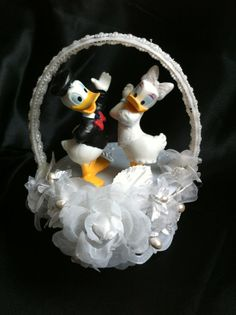 Disney Donald and Daisy duck bride and groom wedding cake topper