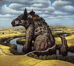 Little Dog's Rock by Jacek Yerka. Surrealism. landscape