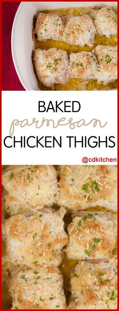 Baked Parmesan Chicken Thighs - Chicken thighs are baked with a coating of mayo, Parmesan, and Italian seasoning. The result is a wonderfully rich and moist chicken dish! - Made with mayonnaise, Parmesan cheese, Italian seasoning, salt, black pepper, boneless, skinless chicken thighs | CDKitchen.com