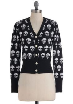 Skulls in Session Cardigan in Black, #ModCloth