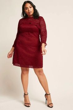 Plus Size Sheer Crochet Lace Ruffle Trim Dress | Forever21