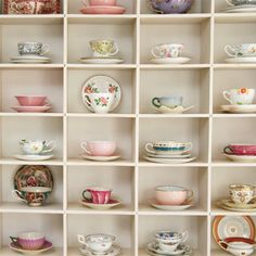 This would be a perfect way to display my vintage tea cup collection! Vintage Dishes, Vintage China, Vintage Teacups, Tea Cup Display, Plate Display, Cute Tea Cups, Happy September, China Display, Ideias Diy